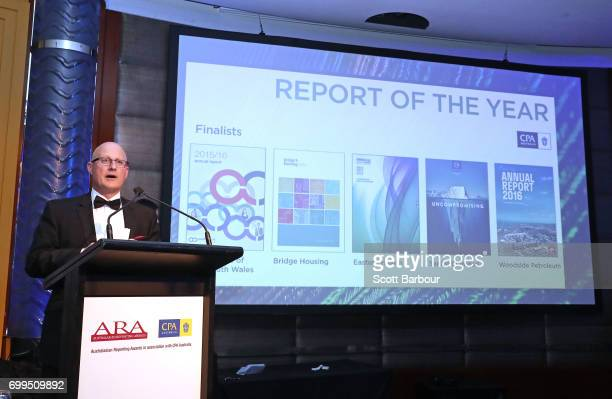 Jon Aloni General Manager Victoria CPA Australia presents the Report of the Year Award during the 2017 Australasian Reporting Awards on June 21 2017...