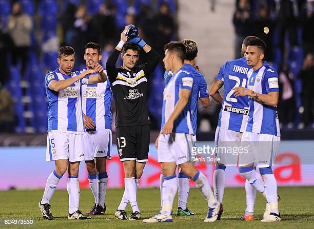 Jon Ander Serantes of CD Leganes applauds after his team beat CA Osasuna 20 in the La Liga match at Estadio Municipal de Butarque on November 21 2016...