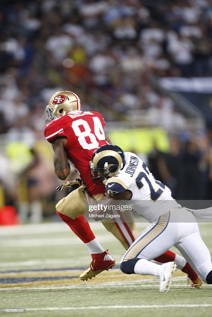 Jon Baldwin #84 of the San Francisco 49ers makes a reception during the game against the St. Louis Rams at the Edward Jones Dome on September 26, 2013 in St. Louis, Missouri. The 49ers defeated the Rams 35-11.