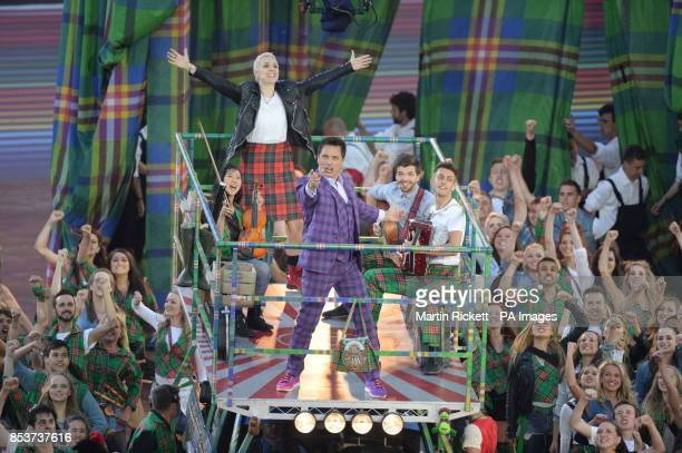 Jon Barrowman and Karen Dunbar perform during the 2014 Commonwealth Games Opening Ceremony at Celtic Park Glasgow