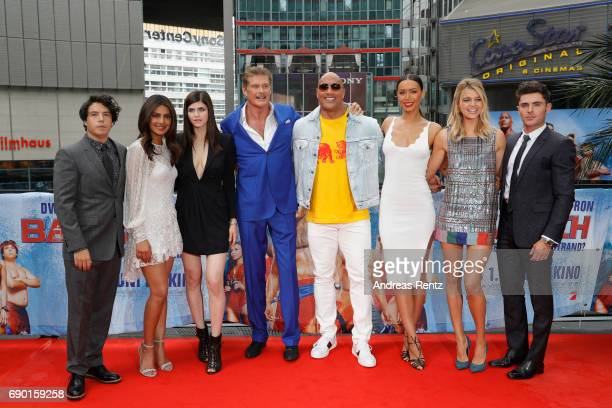 Jon Bass Priyanka Chopra Alexandra Daddario David Hasselhoff Dwayne Johnson Ilfenesh Hadera Kelly Rohrbach and Zac Efron pose at the 'Baywatch' Photo...