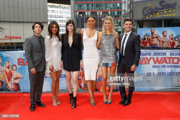 Jon Bass Priyanka Chopra Alexandra Daddario Ilfenesh Hadera Kelly Rohrbach and Zac Efron pose at the 'Baywatch' Photo Call at Sony Centre on May 30...