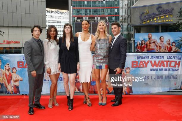 Jon Bass Priyanka Chopra Alexandra Daddario Ilfenesh Hadera Kelly Rohrbach and Zac Efron pose at the 'Baywatch' Photo Call at Sony Centre on May 30...