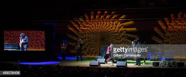 Jon Batiste and Stay Human perform during the 2014 Marian Anderson Award Gala honoring Jon Bon Jovi at Kimmel Center for the Performing Arts on...