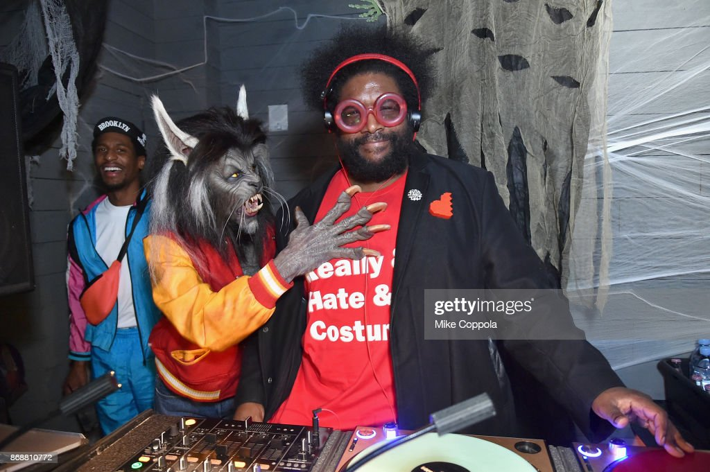 Jon Batiste, Heidi Klum, and Questlove attend Heidi Klum's 18th Annual Halloween Party presented by Party City and SVEDKA Vodka at Magic Hour Rooftop Bar & Lounge at Moxy Times Square on October 31, 2017 in New York City.