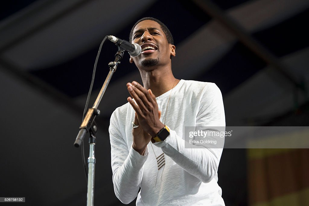 Jon Batiste performs at Fair Grounds Race Course on April 30, 2016 in New Orleans, Louisiana.