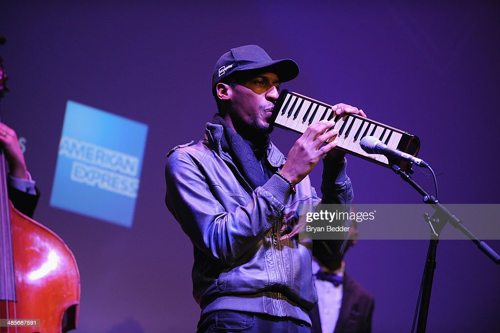 Jon Batiste performs at the 'Keep On Keepin' On' world premiere exclusively for American Express Card Members at BMCC Tribeca PAC on April 19, 2014 in New York City.