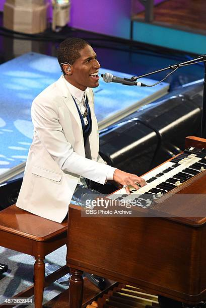 Jon Batiste performs on the premiere of The Late Show with Stephen Colbert Tuesday Sept 8 2015 on the CBS Television Network