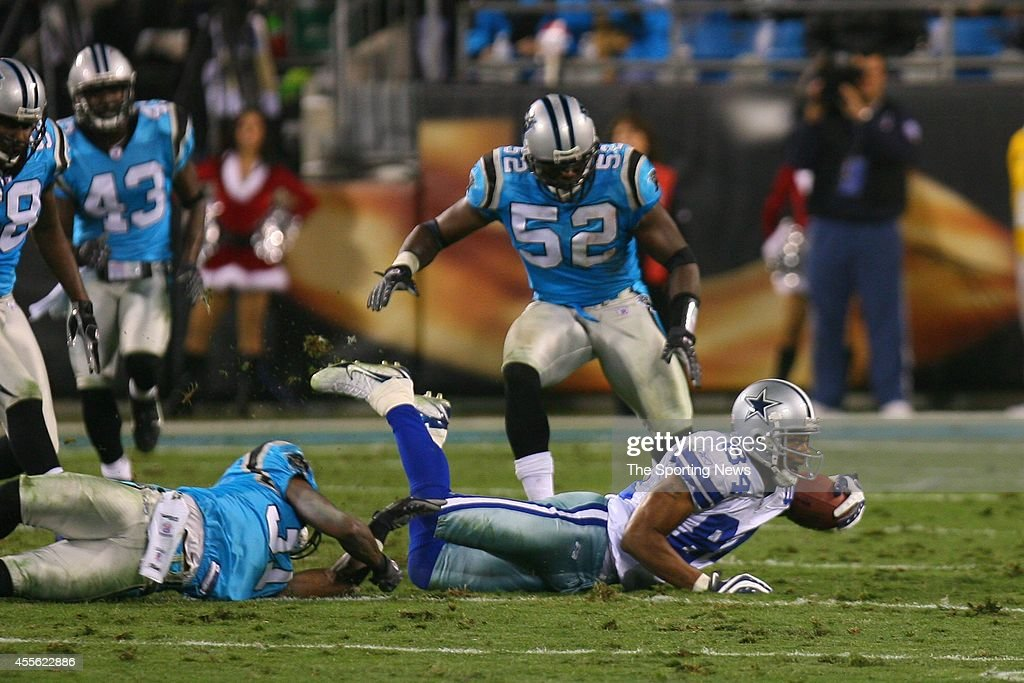 Jon Beason and Thomas Davis of the Carolina Panthers in action during a game against the Dallas Cowboys on December 22 2007 at the Bank of America...