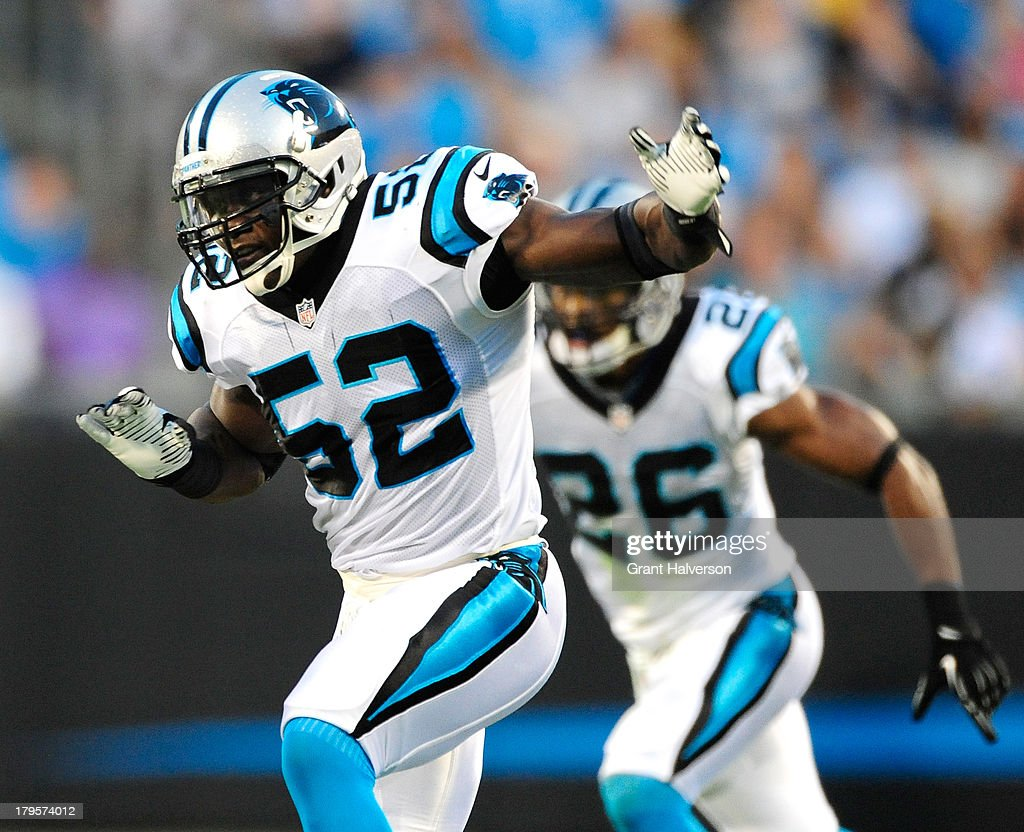 Jon Beason of the Carolina Panthers against the Pittsburgh Steelers at Bank of America Stadium on August 29 2013 in Charlotte North Carolina The...