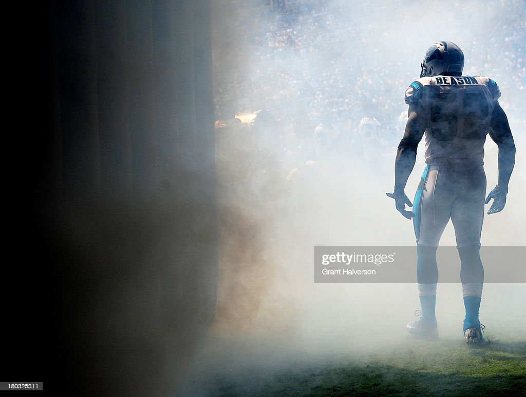 Jon Beason of the Carolina Panthers against the Seattle Seahawks during play at Bank of America Stadium on September 8 2013 in Charlotte North...