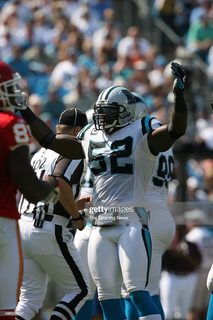 Jon Beason of the Carolina Panthers celebrates after a score during a game against the Kansas City Chiefs on October 5 2008 at the Bank of America...