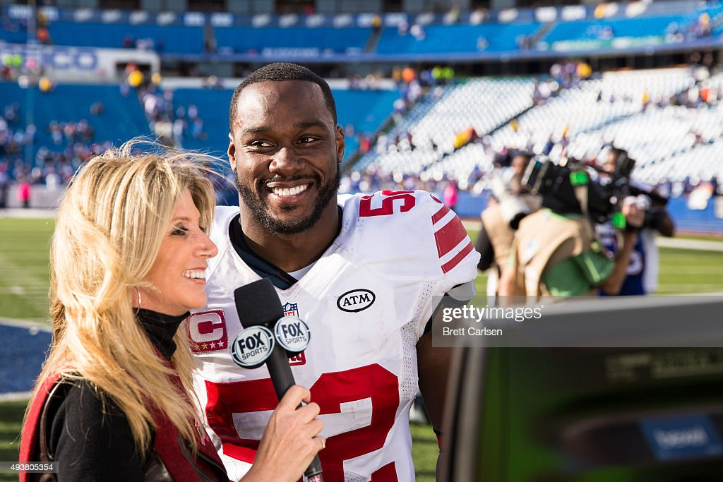 Jon Beason of the New York Giants is interviewed by Fox Sports after the game against the Buffalo Bills on October 4 2015 at Ralph Wilson Stadium in...