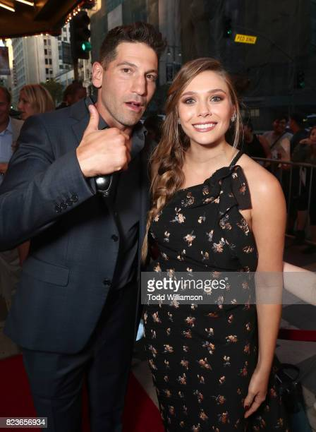 Jon Bernthal and Elizabeth Olsen attend the premiere Of The Weinstein Company's 'Wind River' at The Theatre at Ace Hotel on July 26 2017 in Los...