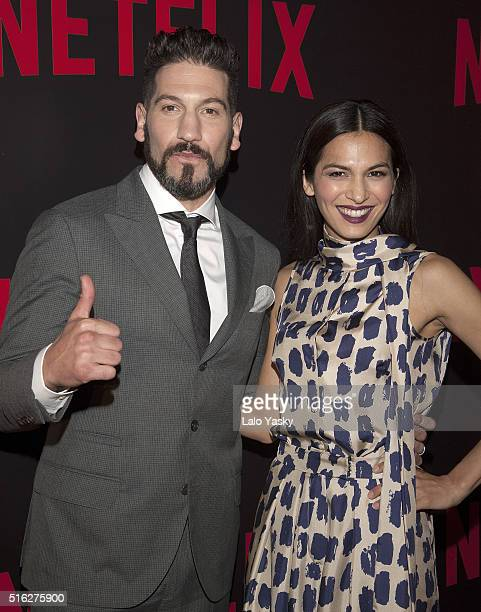 Jon Bernthal and Elodie Yung attend the 'Netflix Red Carpet' event at the Four Seasons Hotel on March 17 2016 in Buenos Aires Argentina