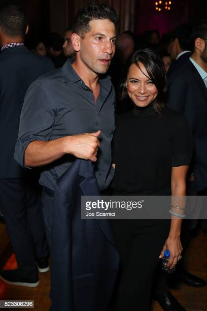 Jon Bernthal and Sonya Balmores attend the Wind River Los Angeles Premiere Presented in Partnership with FIJI Water at Ace Hotel on July 26 2017 in...