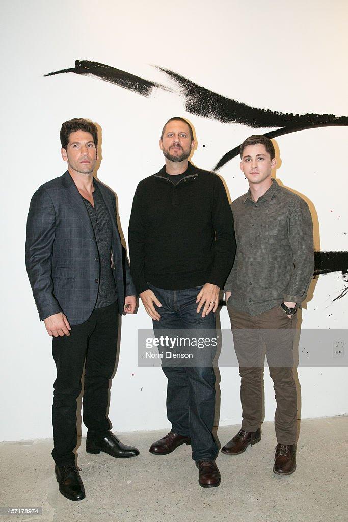Jon Bernthal David Ayer and Logan Lerman attend AOL's BUILD Series Presents Logan Lerman And Jon Bernthal With Director David Ayer at AOL Studios In...
