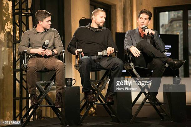 Jon Bernthal David Ayer and Logan Lerman attend AOL's BUILD Series Presents Logan Lerman And Jon Bernthal With Director David Ayer at AOL Studios In...