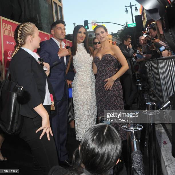 Jon Bernthal Eiza Gonzalez and Lily James arrive for the Premiere Of Sony Pictures' 'Baby Driver' held at Ace Hotel on June 14 2017 in Los Angeles...