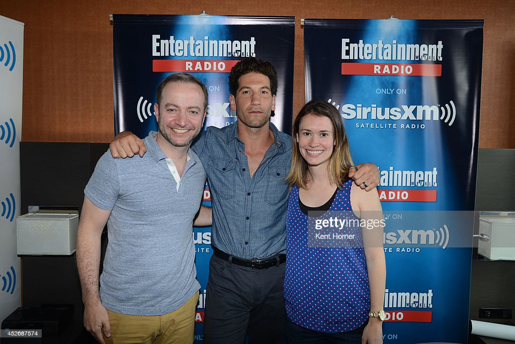 Jon Bernthal poses with radio hosts Mario Correa and Julia Cunningham after being interviewed on SiriusXM's Entertainment Weekly Radio channel from Comic-Con 2014 at The Hard Rock Hotel on July 25, 2014 in San Diego, California.