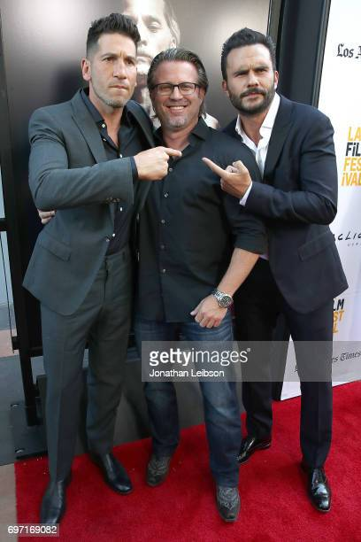 Jon Bernthal Ric Roman Waugh and Juan Pablo Raba attend the ATT And Saban Films Present The LAFF Gala Premiere Of Shot Caller at ArcLight Cinemas on...