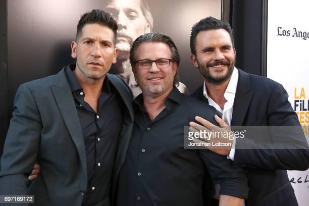 Jon Bernthal Ric Roman Waugh and Juan Pablo Raba attend the ATT And Saban Films Present The LAFF Gala Premiere Of Shot Caller at ArcLight Cinemas on...
