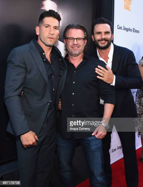 Jon Bernthal Ric Roman Waugh and Juan Pablo Raba attend the 'Shot Caller' Premiere during the 2017 Los Angeles Film Festival at Arclight Cinemas...