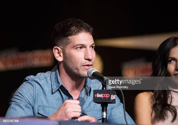 Jon Bernthal speaks at the Netflix Presents The Casts Of Marvel's Daredevil And Marvel's Jessica Jones At New York ComicCon at Jacob Javits Center on...