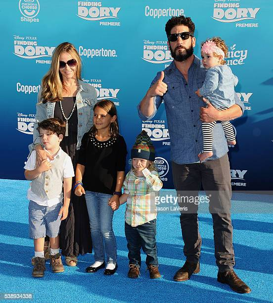 Jon Bernthal wife Erin Angle and children attend the premiere of 'Finding Dory' at the El Capitan Theatre on June 8 2016 in Hollywood California