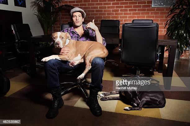 Jon Bernthal with his dogs at a voice over recording session for Call of Duty Advanced Warfares 'Exo Zombies' mode part of the Havoc DLC pack on...