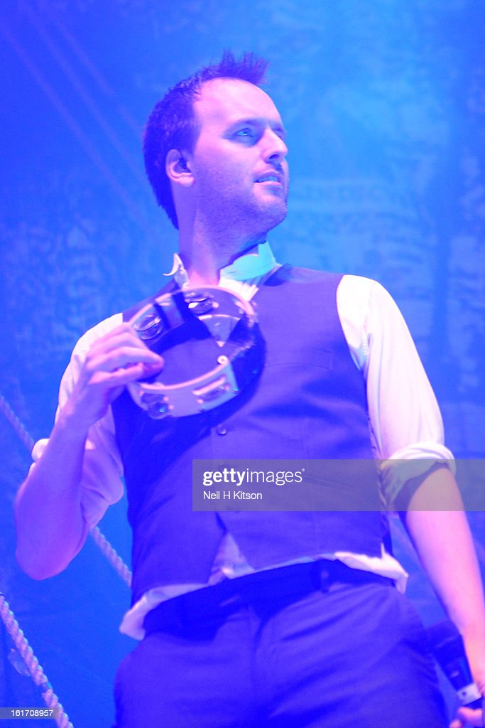 Jon Boden of Bellowhead performs on stage at City Hall on February 14, 2013 in Sheffield, England.