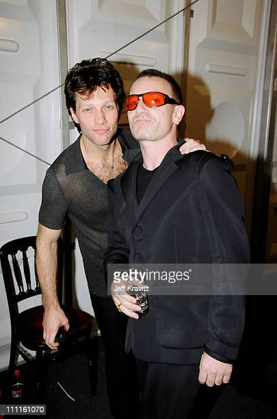 Jon Bon Jovi and Bono during 1997 MTV Europe Music Awards in Los Angeles California United States