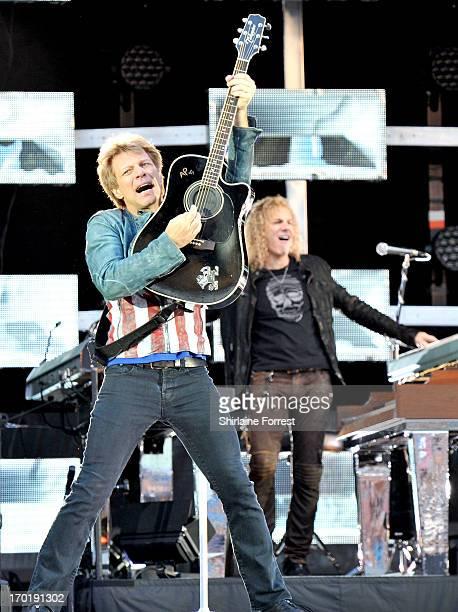 Jon Bon Jovi and David Bryan of Bon Jovi perform at Etihad Stadium on June 8 2013 in Manchester England