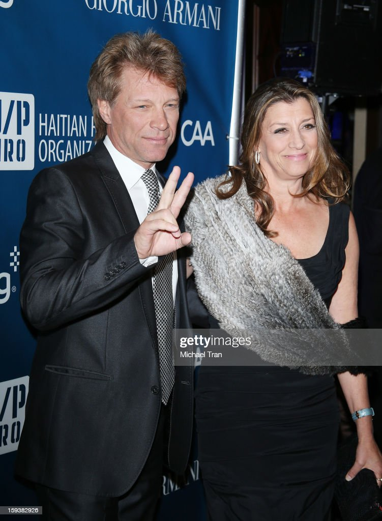 Jon Bon Jovi (L) and Dorothea Hurley arrive at the 2nd Annual Sean Penn & Friends 'Help Haiti Home' held at Montage Hotel on January 12, 2013 in Los Angeles, California.