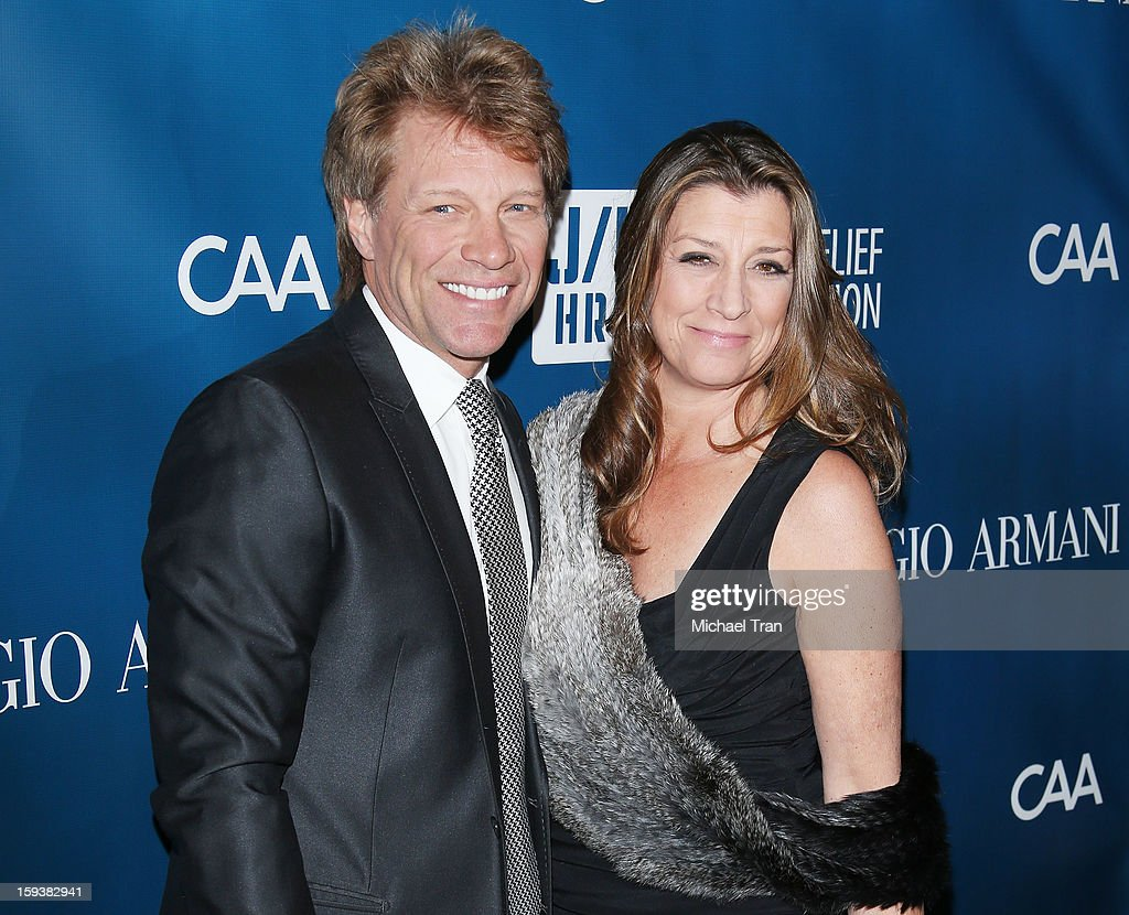 <a gi-track='captionPersonalityLinkClicked' href=/galleries/search?phrase=Jon+Bon+Jovi&family=editorial&specificpeople=201527 ng-click='$event.stopPropagation()'>Jon Bon Jovi</a> (L) and Dorothea Hurley arrive at the 2nd Annual Sean Penn & Friends 'Help Haiti Home' held at Montage Hotel on January 12, 2013 in Los Angeles, California.