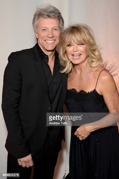 Jon Bon Jovi and Goldie Hawn pose backstage at the Samsung annual charity gala 2017 at Skylight Clarkson Sq on November 2 2017 in New York City