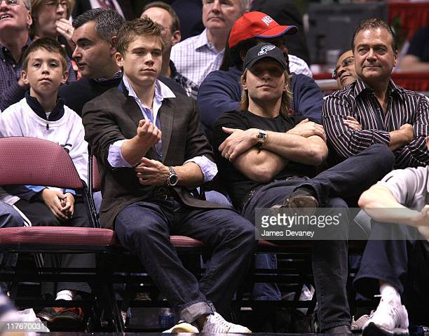 Jon Bon Jovi and guest during Celebrities Attend Cleveland Cavaliers vs New Jersey Nets Game May 18 2007 at Continental Arena in East Rutherford New...