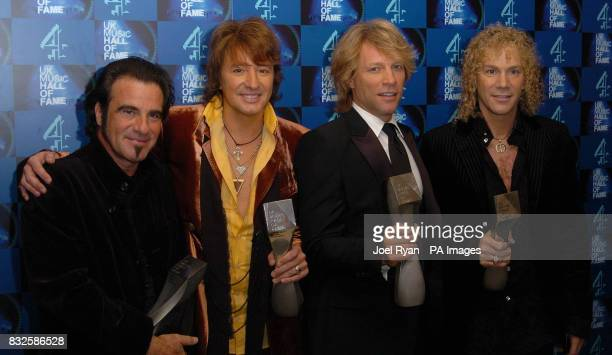 Jon Bon Jovi and his band with their UK Music Hall of Fame 2006 induction award in Alexandra Palace London