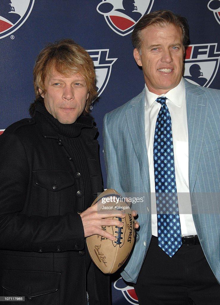 Jon Bon Jovi and John Elway during ALF Season Kick Off Event At ESPN Zone February 26 2007 at ESPN Zone in New York City New York United States