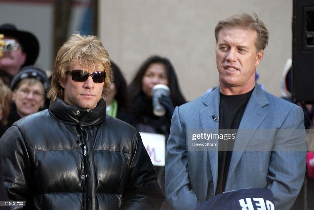 Jon Bon Jovi and John Elway during Jon Bon Jovi John Elway and Chad Hedrick Appear on the 'Today' Show January 26 2006 at Today Show Studios in New...