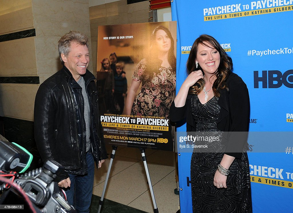 <a gi-track='captionPersonalityLinkClicked' href=/galleries/search?phrase=Jon+Bon+Jovi&family=editorial&specificpeople=201527 ng-click='$event.stopPropagation()'>Jon Bon Jovi</a> and Katrina Gilbert attend 'Paycheck To Paycheck: The Life And Times Of Katrina Gilbert' New York Premiere at HBO Theater on March 13, 2014 in New York City.