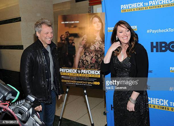 Jon Bon Jovi and Katrina Gilbert attend 'Paycheck To Paycheck The Life And Times Of Katrina Gilbert' New York Premiere at HBO Theater on March 13...