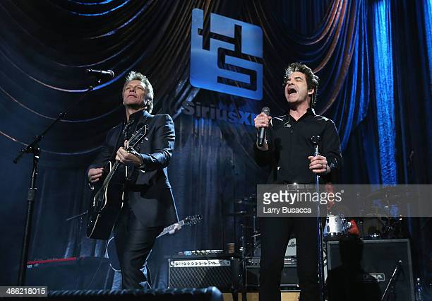 Jon Bon Jovi and Patrick Monahan perform onstage at 'Howard Stern's Birthday Bash' presented by SiriusXM produced by Howard Stern Productions at...