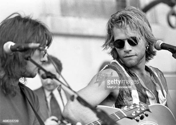 Jon Bon Jovi And Richie Sambora of Bon Jovi busk in Acoustic Covent Garden London United Kingdom 1994