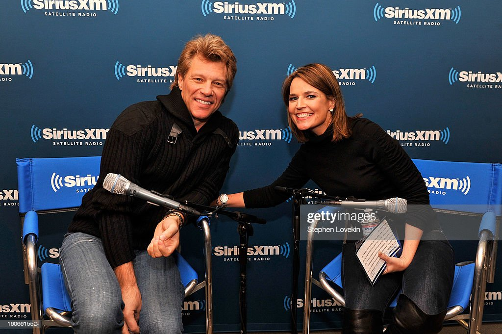 Jon Bon Jovi and Savannah Guthrie attend 'SiriusXM's Town Hall with Jon Bon Jovi' and moderator Savannah Guthrie at the SiriusXM studios on February 4, 2013 in New York City.
