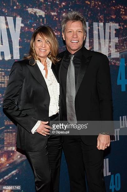 Jon Bon Jovi and wife Dorothea Hurley attend the SNL 40th Anniversary Celebration at Rockefeller Plaza on February 15 2015 in New York City
