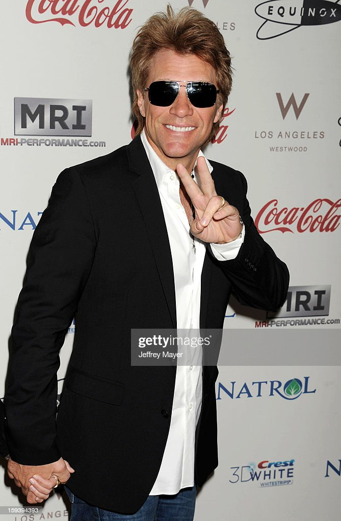 <a gi-track='captionPersonalityLinkClicked' href=/galleries/search?phrase=Jon+Bon+Jovi&family=editorial&specificpeople=201527 ng-click='$event.stopPropagation()'>Jon Bon Jovi</a> arrives at CW3PR Presents the inaugural 'Gold Meets Golden' event at New Equinox Flagship on January 12, 2013 in Los Angeles, California.
