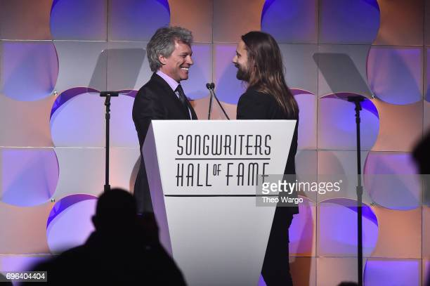Jon Bon Jovi awards 2017 Inductee Max Martin onstage at the Songwriters Hall Of Fame 48th Annual Induction and Awards at New York Marriott Marquis...