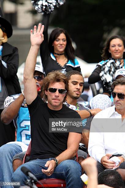 Jon Bon Jovi Comajority owner and Chairman of the Board of the Philadelphia Soul during the championship celebration for the Philadelphia Soul after...