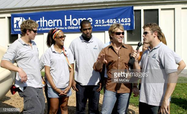 Jon Bon Jovi coowner of Philadelphia Soul shares a few laughs with some of the cast members of MTV's 'Real World Philadelphia'